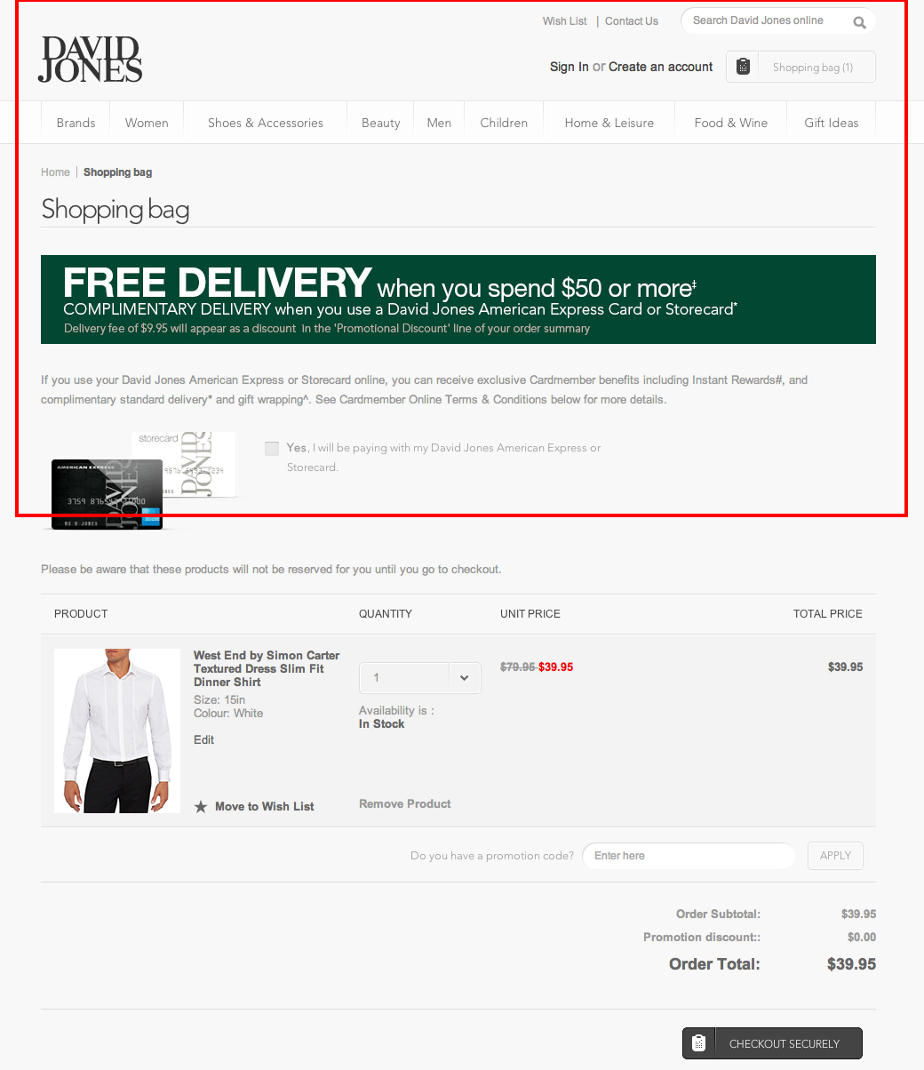 David Jones Online Store shopping cart madness
